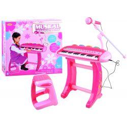 Ružové detské piano so stoličkou a mikrofónom