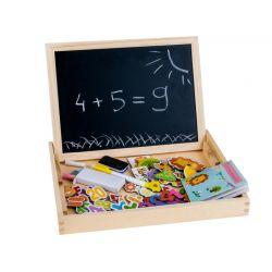 Skladacia magneticko-kriedová tabuľa 2v1 v kufríku, s fixami a kriedami