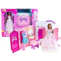 Domček pre bábiku v kufríku na kolieskach + bábika