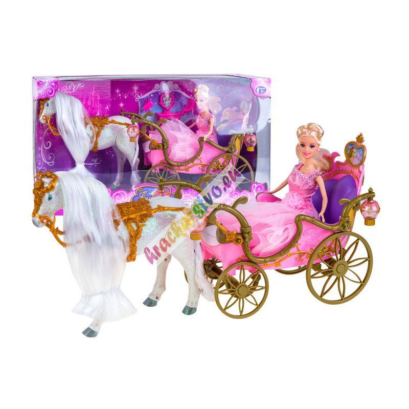 Rozprávkový svietiaci koč + chodiaci koník + bábika