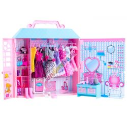 Veľký domček pre bábiky + bábika + oblečenie + nábytok