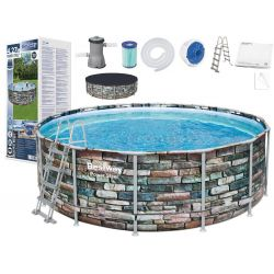 Bestway 56993, bazén 427x122 cm kameň, 10v1