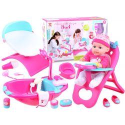 Bábika s postielkou, sedačkou a vaničkou