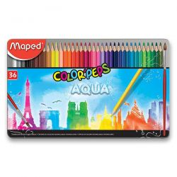 Pastelky MAPED AQUA Metal 36 farieb + štetec