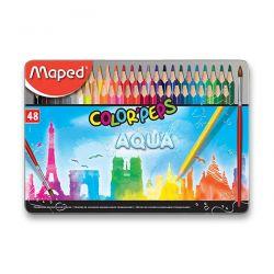 Pastelky MAPED AQUA Metal 48 farieb + štetec