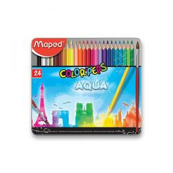 Pastelky MAPED AQUA Metal 24 farieb + štetec