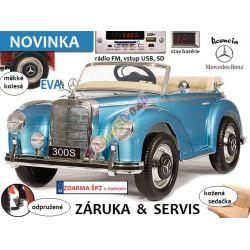 Elektrický Mercedes S300, odpružené, rádio, LAK,  modré
