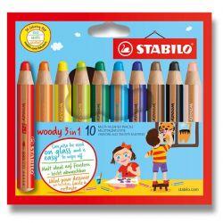 Farebné ceruzky Stabilo Woody 3v1 10ks