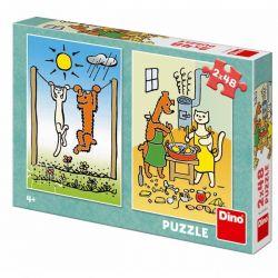 Puzzle Psíček a mačička, 2x48 dielikov