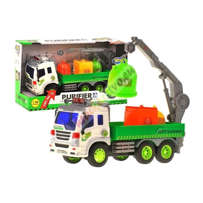 Nákladné auto smetiarske na zotrvačník + kontajnery