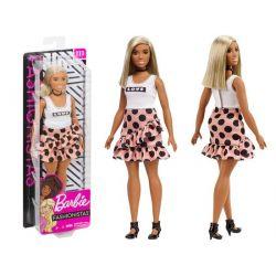 Bábika- Barbie Fashionistas v bodkovanej sukni