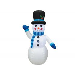 Nafukovací svietiaci snehuliak s modrým šálom, 240 cm