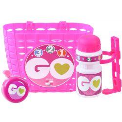 Detská súprava na bicykel ružová – kôš, zvonček, fľaša