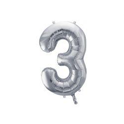 Balón fóliový, číslo 3 strieborný
