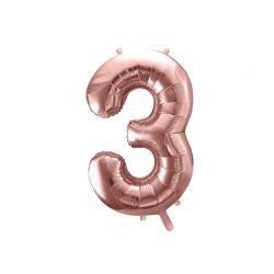 Balón fóliový, číslo 3 ružové zlato