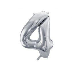 Balón fóliový, číslo 4 strieborný