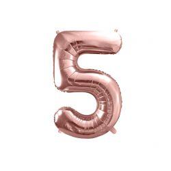 Balón fóliový, číslo 5 ružové zlato