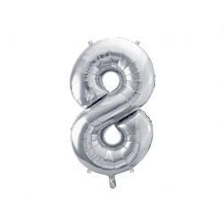 Balón fóliový, číslo 8 strieborný