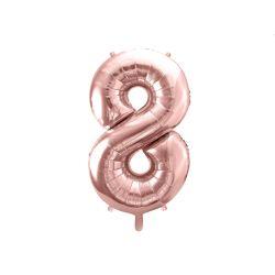 Balón fóliový, číslo 8 ružové zlato