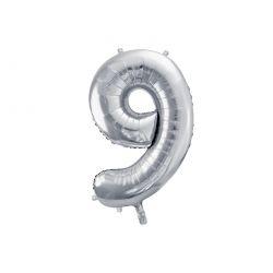 Balón fóliový, číslo 9 strieborný
