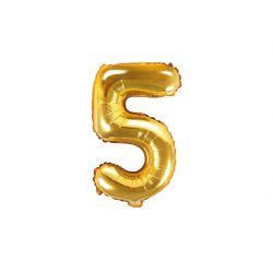Balón fóliový- číslo 5,  zlatý