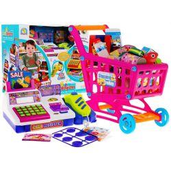 Detská pokladňa s nákupným vozíkom a tovarom