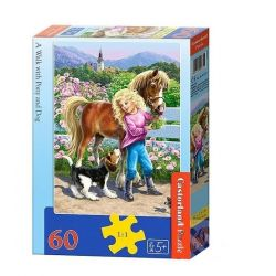 Castorland Puzzle Prechádzka s poníkom a psíkom, 60 dielikov