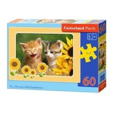 Castorland Puzzle Mačiatka a slnečnice, 60 dielikov