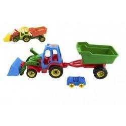 Traktor s lyžicou + vlečka a autíčko