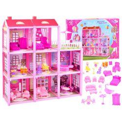 Trojposchodový domček pre bábiky s nábytkom a bábikou