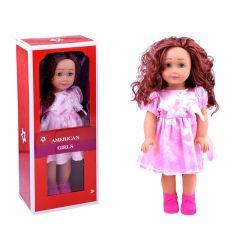 AMERICAN Girls – Krásna veľká bábika s dlhými vlasmi, 45cm v ružových šatách