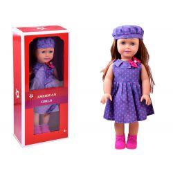 AMERICAN Girls – Krásna veľká bábika s dlhými vlasmi, 45cm vo fialových šatách