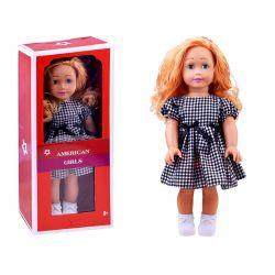 AMERICAN Girls – Krásna veľká bábika s dlhými vlasmi, 45cm v károvaných šatách