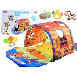 Interaktívna detská hracia podložka s tunelom, Farma