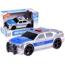 Policajné auto na zotrvačník strieborno modré, zvuk a svetlo