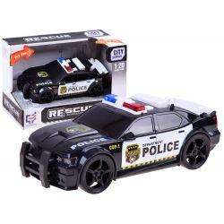 Policajné auto na zotrvačník čierno-biele, zvuk a svetlo