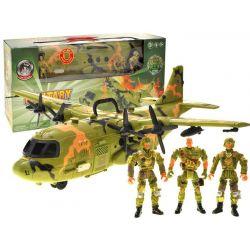 Vojenský set: bojové lietadlo + figúrky vojačikov