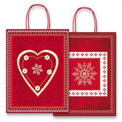 Vianočná pap.taška vel.L, Red/White