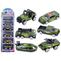 Kovové autíčka 6v1, vojenské