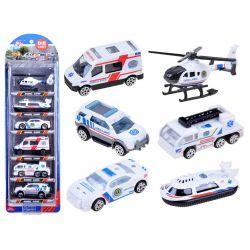 Kovové autíčka 6v1, záchranárske