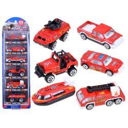 Kovové autíčka 6v1, hasičské