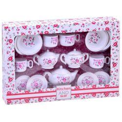 Biela čajová súprava s kvietočkami