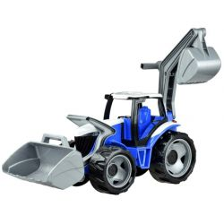 Traktor s lyžicou a bagrom modro-šedý, 65 cm