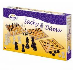 Šach a dáma  - drevené figúrky