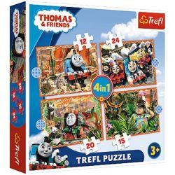 Puzzle 4v1 Mašinka Tomáš Cesta kolem sveta