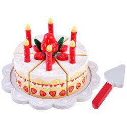Drevená narodeninová torta na krájanie so suchým zipsom