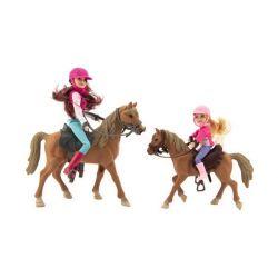 Kôň 2ks + bábika žokejka