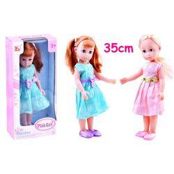 Nádherná bábika v jarných šatách 35 cm, modrá/ružová