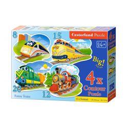Castorland 4x Puzzle Veselé vlaky