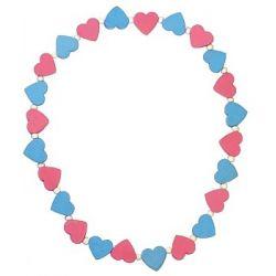 Detský náhrdelník srdiečka ružovo modré